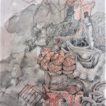 A-self-figured-as-a-house-Crayon-pencil-and-watercolour-64x52cm